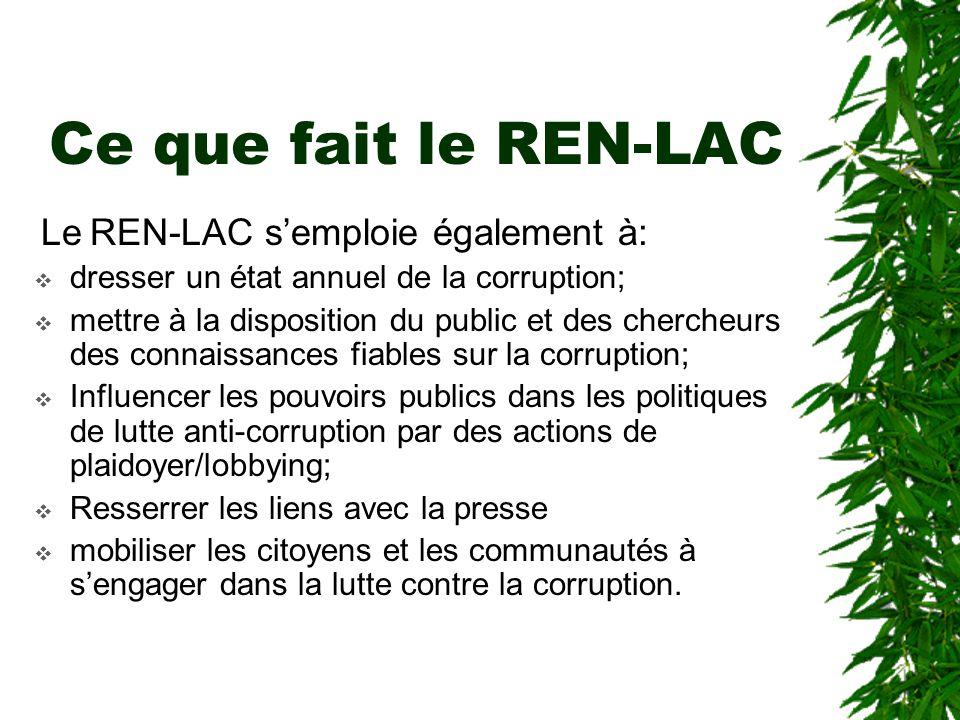 Ce que fait le REN-LAC Les principales activités du REN-LAC sont entre autres:  mener des campagnes de sensibilisation sur le phénomène de la corrupt
