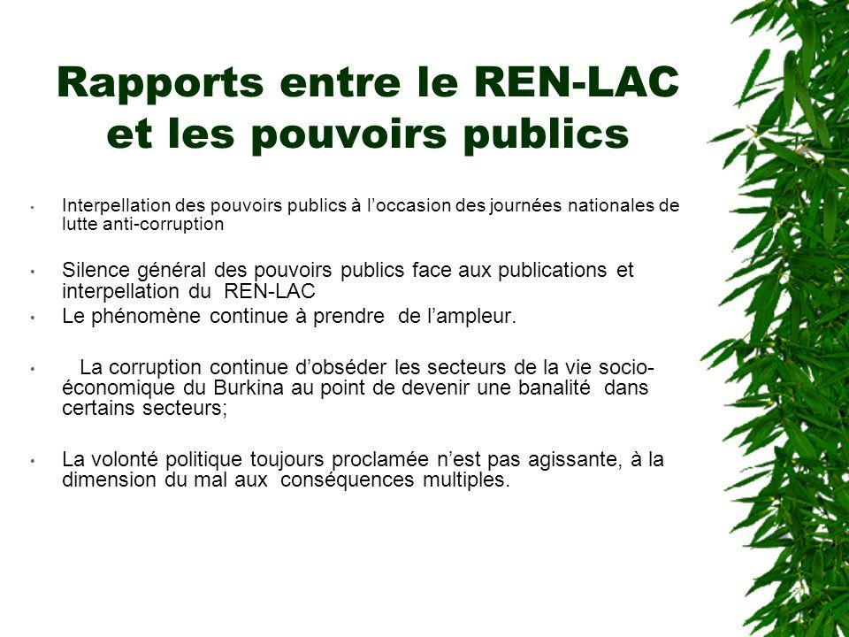 Ce que fait le REN-LAC Le REN-LAC s'emploie également à:  dresser un état annuel de la corruption;  mettre à la disposition du public et des cherche