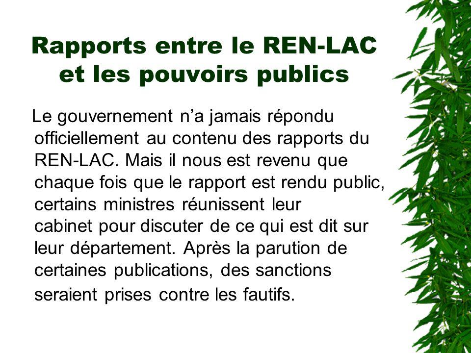 Rapports entre le REN-LAC et les pouvoirs publics Interpellation des pouvoirs publics à l'occasion des journées nationales de lutte anti-corruption Si