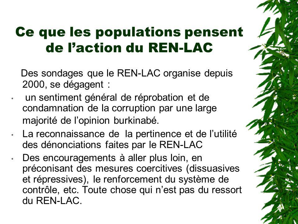 Que fait la justice ?  Le REN-LAC, n'a pas la possibilité de se porter partie civile pour des affaires de corruption, la loi fait obligation au procu
