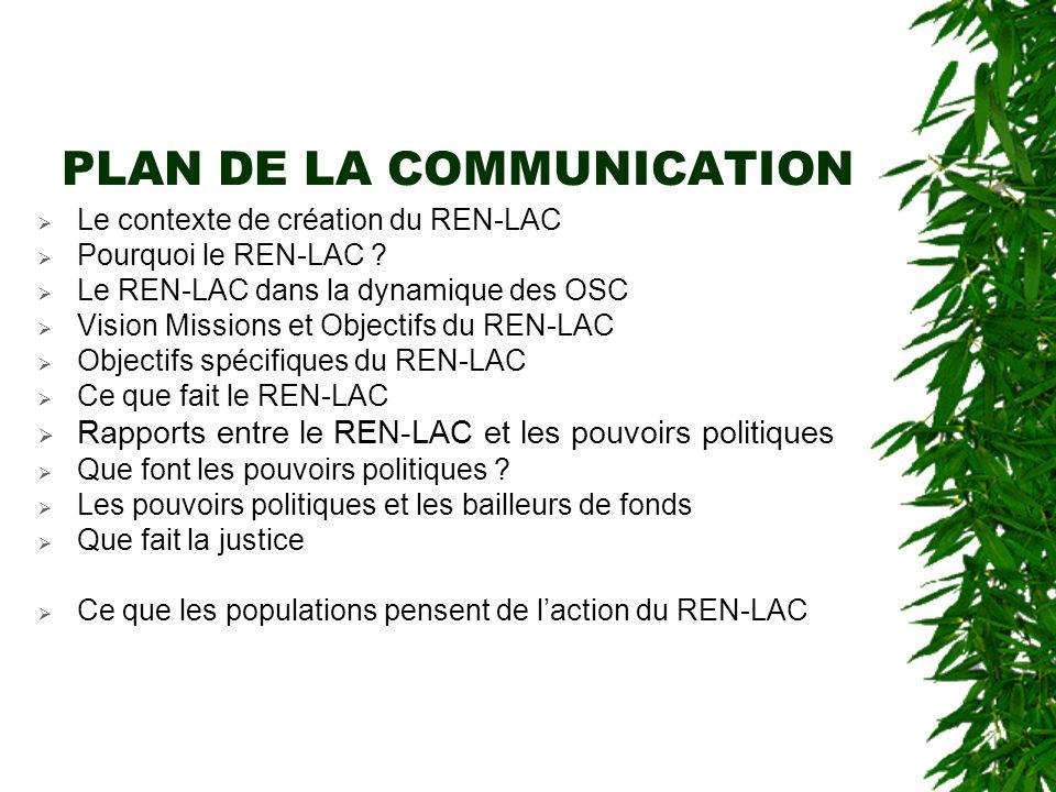 PLAN DE LA COMMUNICATION  Le contexte de création du REN-LAC  Pourquoi le REN-LAC .