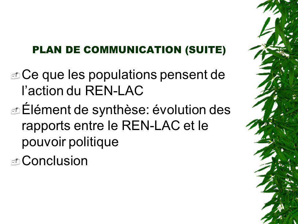 PLAN DE COMMUNICATION (SUITE)  Ce que les populations pensent de l'action du REN-LAC  Élément de synthèse: évolution des rapports entre le REN-LAC et le pouvoir politique  Conclusion