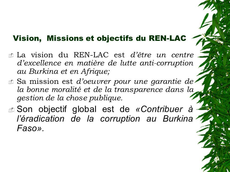 Vision, Missions et objectifs du REN-LAC  La vision du REN-LAC est d'être un centre d'excellence en matière de lutte anti-corruption au Burkina et en Afrique;  Sa mission est d'oeuvrer pour une garantie de la bonne moralité et de la transparence dans la gestion de la chose publique.
