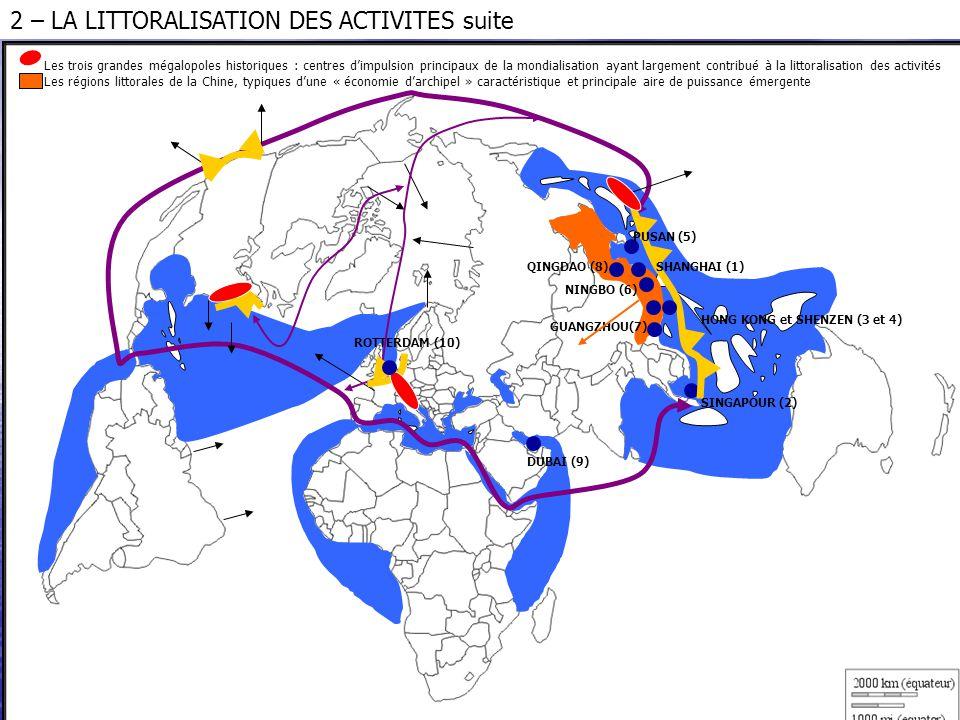 Les trois grandes mégalopoles historiques : centres d'impulsion principaux de la mondialisation ayant largement contribué à la littoralisation des act