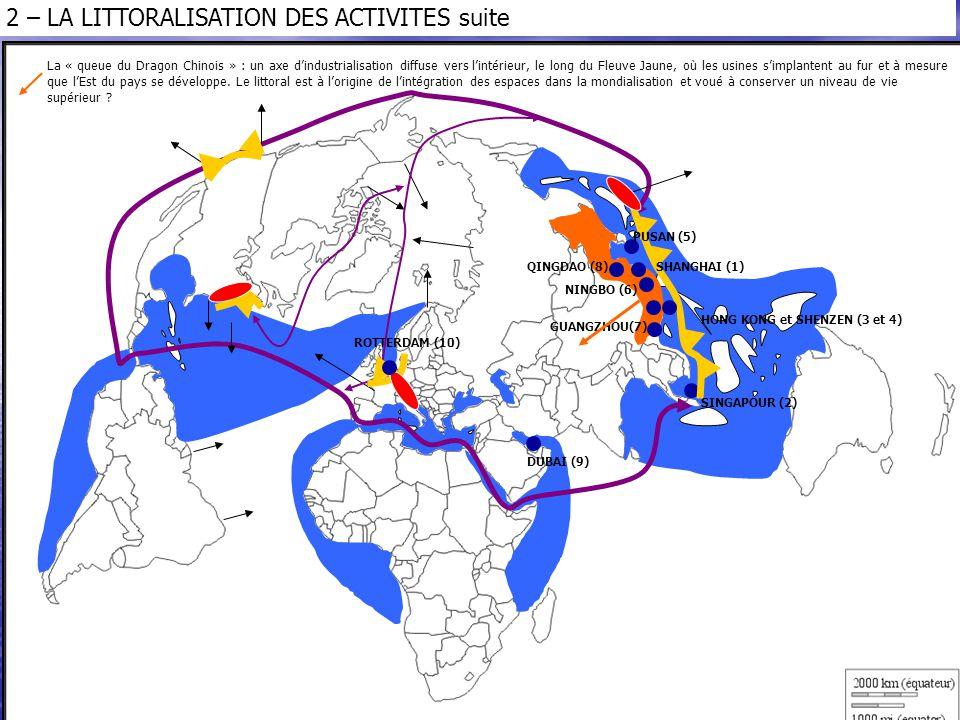 La « queue du Dragon Chinois » : un axe d'industrialisation diffuse vers l'intérieur, le long du Fleuve Jaune, où les usines s'implantent au fur et à