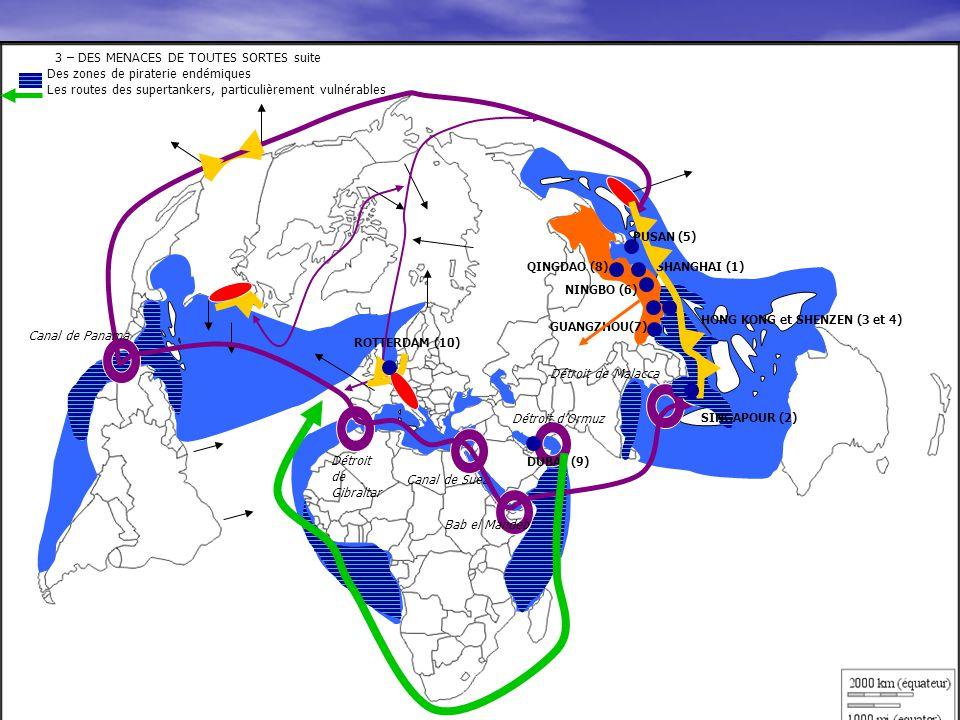 3 – DES MENACES DE TOUTES SORTES suite Des zones de piraterie endémiques Les routes des supertankers, particulièrement vulnérables 3 – DES MENACES DE