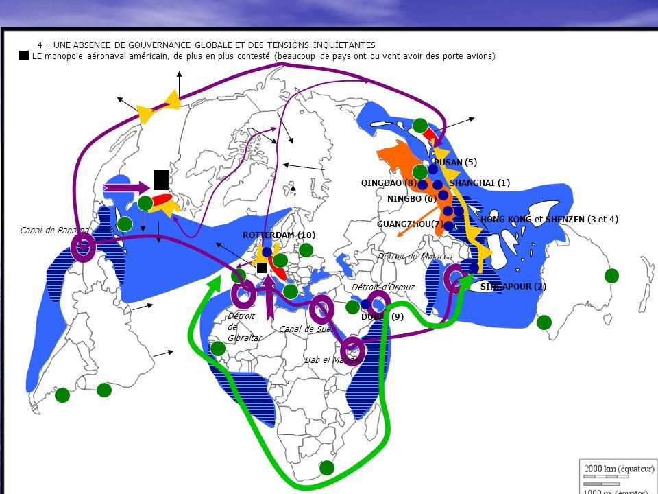 4 – UNE ABSENCE DE GOUVERNANCE GLOBALE ET DES TENSIONS INQUIETANTES LE monopole aéronaval américain, de plus en plus contesté (beaucoup de pays ont ou