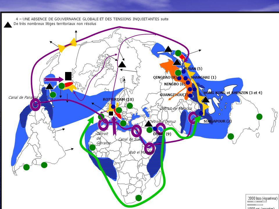 4 – UNE ABSENCE DE GOUVERNANCE GLOBALE ET DES TENSIONS INQUIETANTES suite De très nombreux litiges territoriaux non résolus 4 – UNE ABSENCE DE GOUVERN