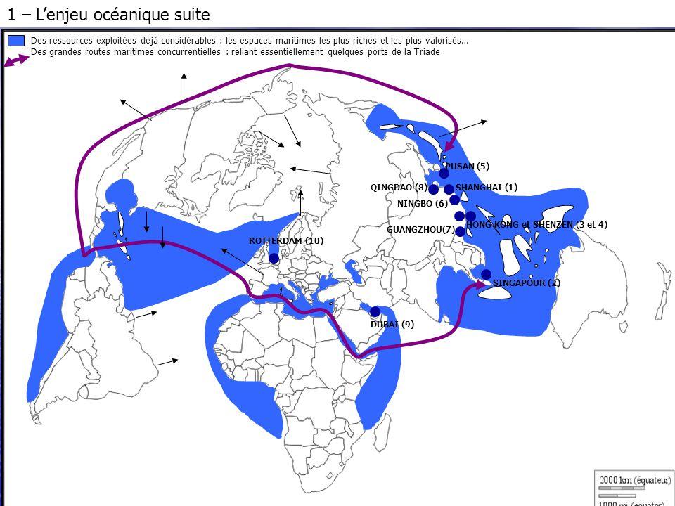Des itinéraires alternatifs plus courts envisageables en cas de fonte de la banquise Un grand intérêt des états riverains et des FTN pour les richesses des plateaux continentaux et de la ZEE (potentiel halieutique, nodules poly métalliques et pétrole non conventionnel notamment) SHANGHAI (1) SINGAPOUR (2) HONG KONG et SHENZEN (3 et 4) PUSAN (5) NINGBO (6) QINGDAO (8) GUANGZHOU(7) DUBAI (9) ROTTERDAM (10) 1 – L'enjeu océanique suite