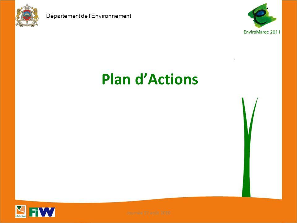 Département de l'Environnement Plan d'Actions Journée 17 août 2010