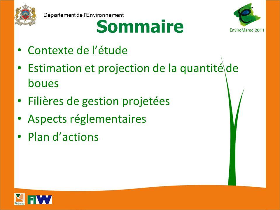 Département de l'Environnement Sommaire Contexte de l'étude Estimation et projection de la quantité de boues Filières de gestion projetées Aspects réglementaires Plan d'actions