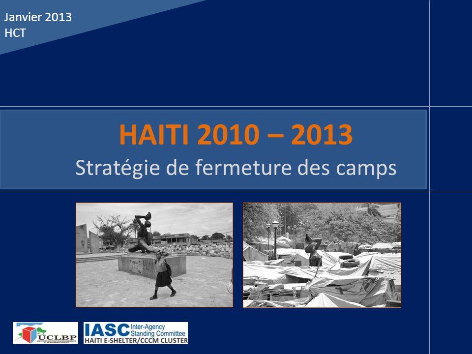 HAITI 2010 – 2013 Stratégie de fermeture des camps Janvier 2013 HCT