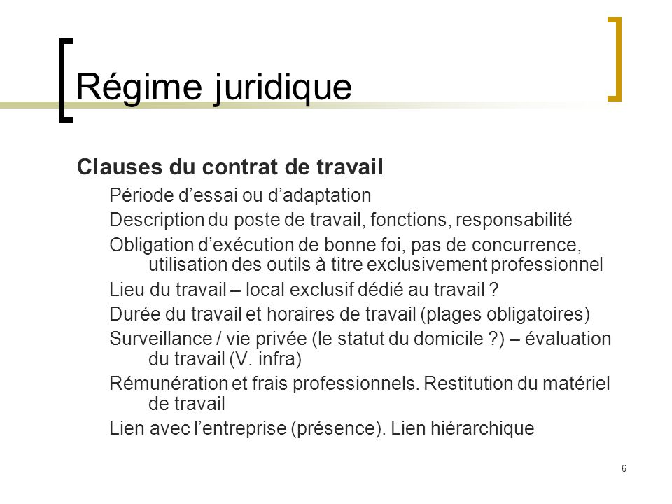 7 Régime juridique (suite) Obligations de l'employeur Prise en charge des frais (pas d'implication économique du télétravailleur) Égalité de traitement avec les autres salariés.