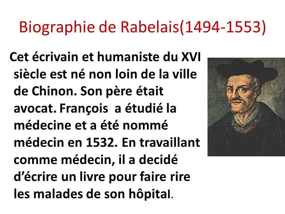 Biographie de Rabelais(1494-1553) Cet écrivain et humaniste du XVI siècle est né non loin de la ville de Chinon. Son père était avocat. François a étu