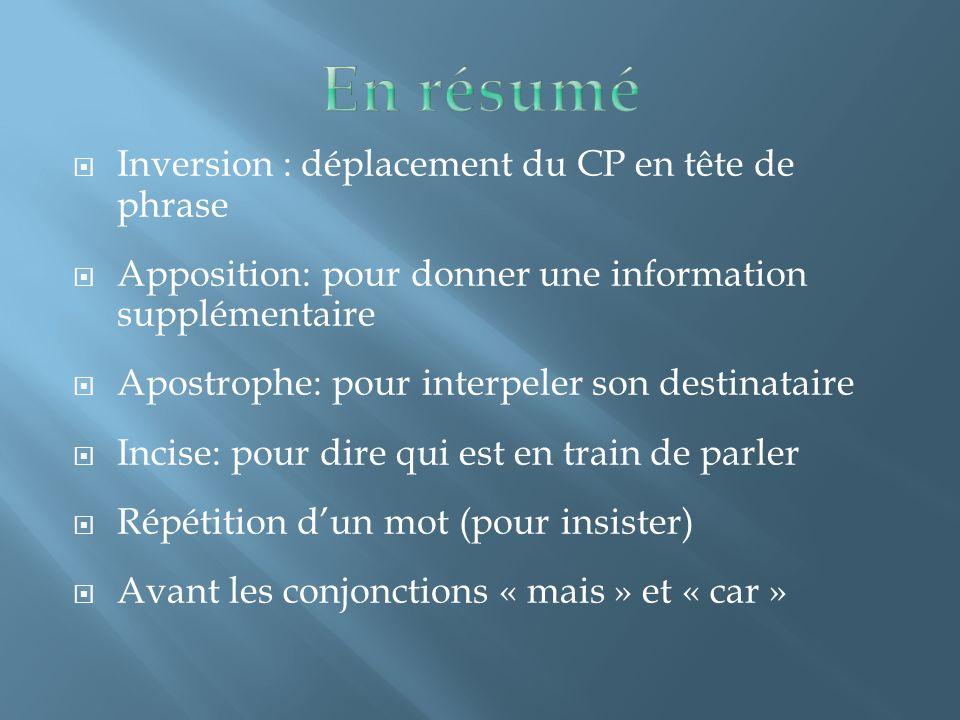  Inversion : déplacement du CP en tête de phrase  Apposition: pour donner une information supplémentaire  Apostrophe: pour interpeler son destinata