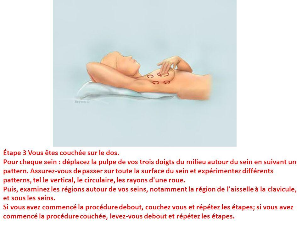 Étape 3 Vous êtes couchée sur le dos. Pour chaque sein : déplacez la pulpe de vos trois doigts du milieu autour du sein en suivant un pattern. Assurez