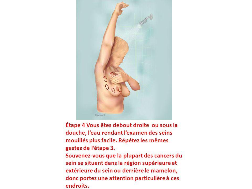 Étape 4 Vous êtes debout droite ou sous la douche, l'eau rendant l'examen des seins mouillés plus facile. Répétez les mêmes gestes de l'étape 3. Souve