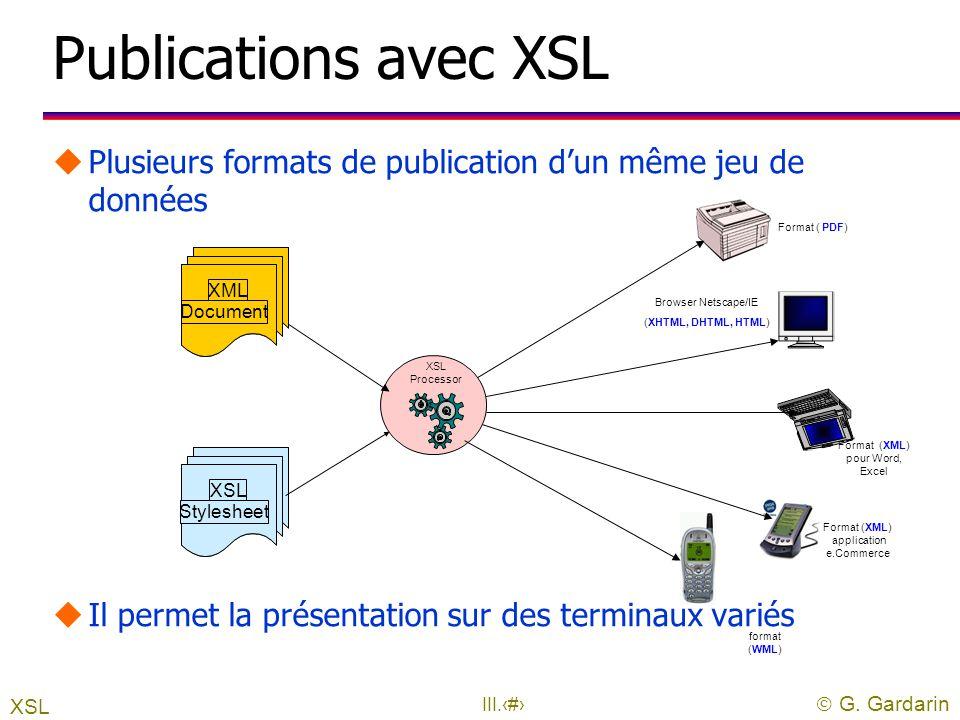  G. Gardarin III.9 2. XSLT : la présentation uPermet de transformer un document l régulier ou irrégulier l de XML à XML, XHTML est un cas particulier
