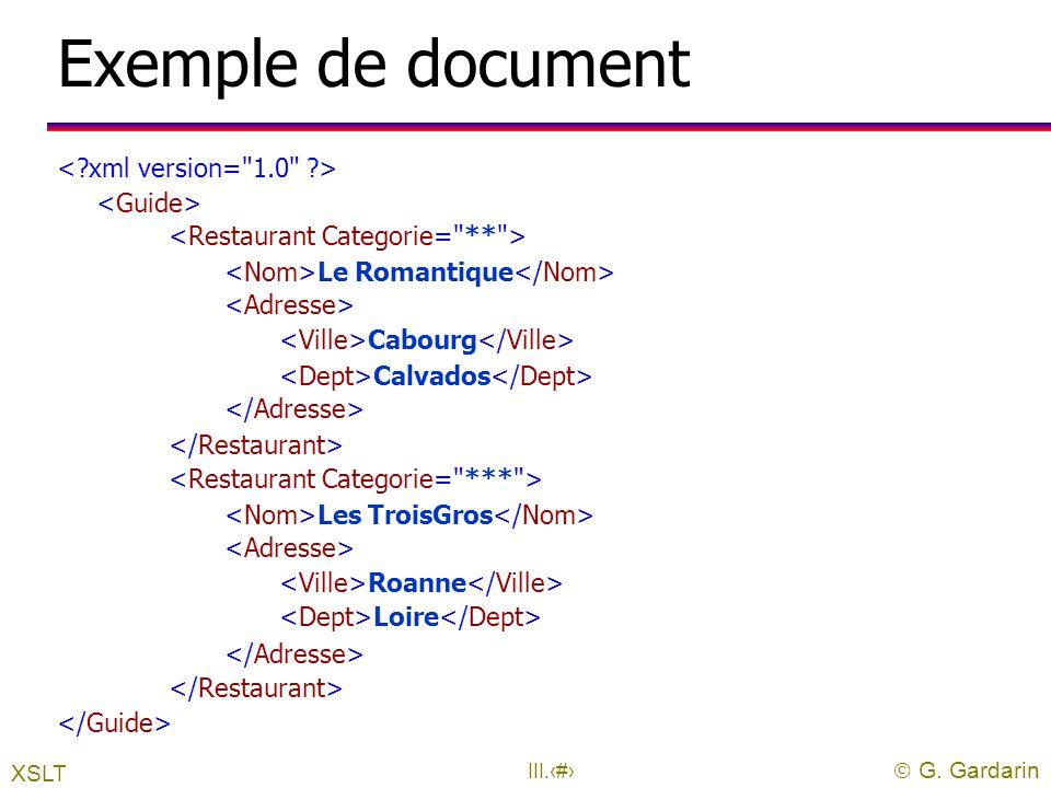  G. Gardarin III.12 Les feuilles de style uUne feuille de style XSL l est un document XML de racine l contient une liste de règles de transformation