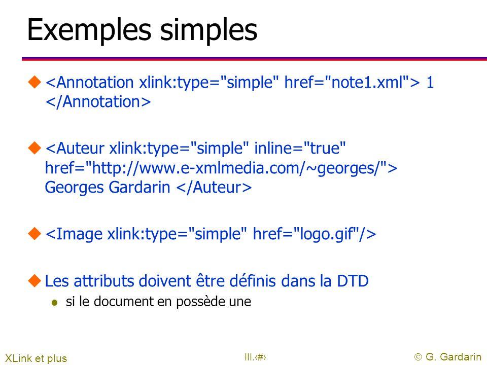  G. Gardarin III.27 Xlink et les liens uExprimer des liens entre documents XML l pointe sur une URL l l'URL peut inclure une partie Xpointer l tout é