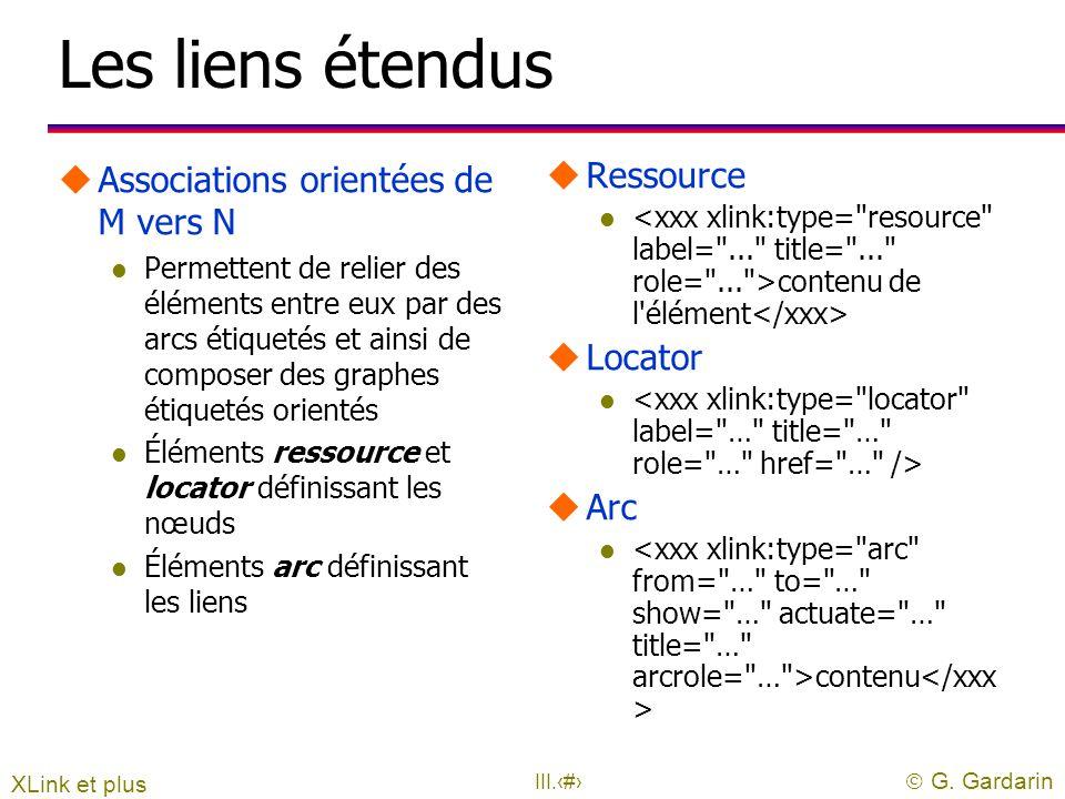  G. Gardarin III.28 Exemples simples u 1 u Georges Gardarin u uLes attributs doivent être définis dans la DTD l si le document en possède une XLink e