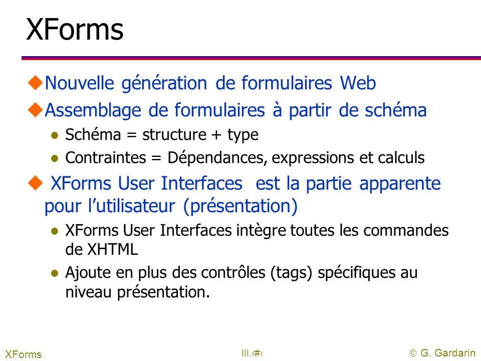  G. Gardarin III.31 XPointer uPermet de référencer un élément particulier d'un document l le document est spécifié par Xlink l le Xpointer est ajouté
