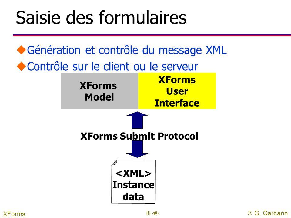  G. Gardarin III.32 XForms uNouvelle génération de formulaires Web uAssemblage de formulaires à partir de schéma l Schéma = structure + type l Contra