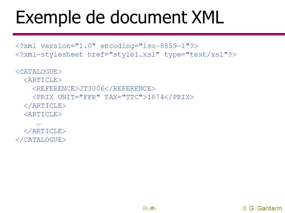  G. Gardarin III.37 Modèle de document en entrée uLe document transformé doit être un document XML bien formé l Document XML: arbre dont les nœuds so