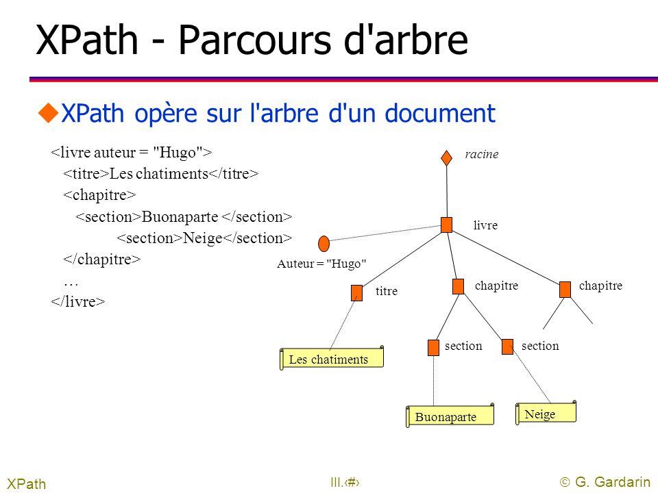  G. Gardarin III.3 XPath uXML Path Language l recommandation W3C pour expressions de chemins l acceptée le 16 novembre 1999 l version 2 en cours d'él