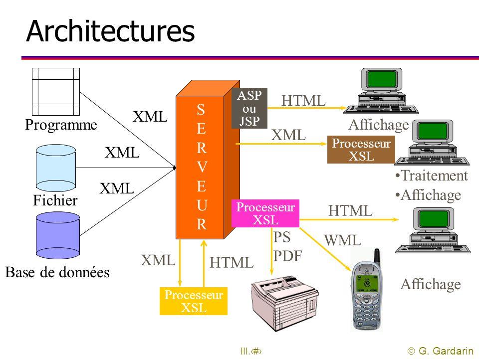  G. Gardarin III.44 Mise en œuvre uTrois types de mise en œuvre possible: l Transformation statique l Transformation dynamique sur le serveur Web l T