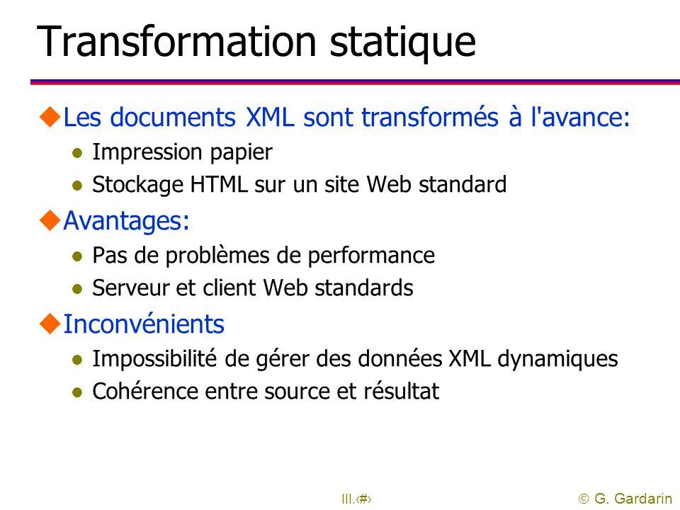  G. Gardarin III.45 Architectures Fichier Base de données Affichage Traitement Affichage SERVEURSERVEUR XML Programme XML ASP ou JSP Processeur XSL A