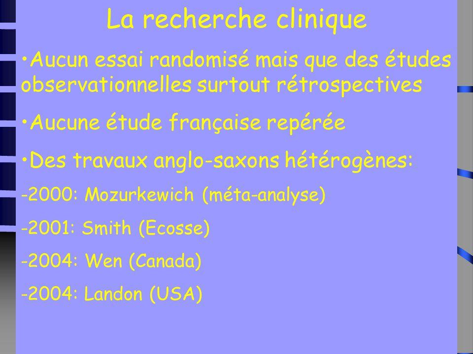 15 La recherche clinique Aucun essai randomisé mais que des études observationnelles surtout rétrospectives Aucune étude française repérée Des travaux anglo-saxons hétérogènes: -2000: Mozurkewich (méta-analyse) -2001: Smith (Ecosse) -2004: Wen (Canada) -2004: Landon (USA)