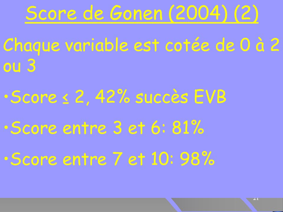 21 Score de Gonen (2004) (2) Chaque variable est cotée de 0 à 2 ou 3 Score ≤ 2, 42% succès EVB Score entre 3 et 6: 81% Score entre 7 et 10: 98%