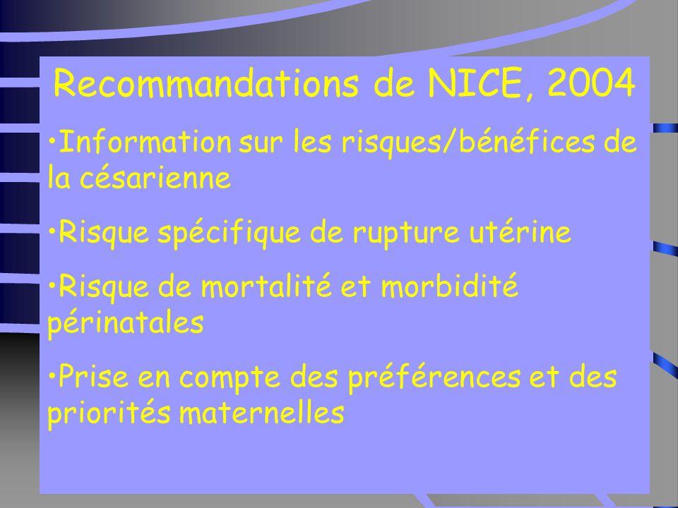 31 Recommandations de NICE, 2004 Information sur les risques/bénéfices de la césarienne Risque spécifique de rupture utérine Risque de mortalité et morbidité périnatales Prise en compte des préférences et des priorités maternelles