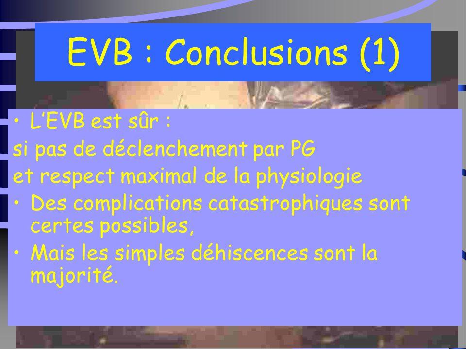 33 EVB : Conclusions (1) L'EVB est sûr : si pas de déclenchement par PG et respect maximal de la physiologie Des complications catastrophiques sont certes possibles, Mais les simples déhiscences sont la majorité.