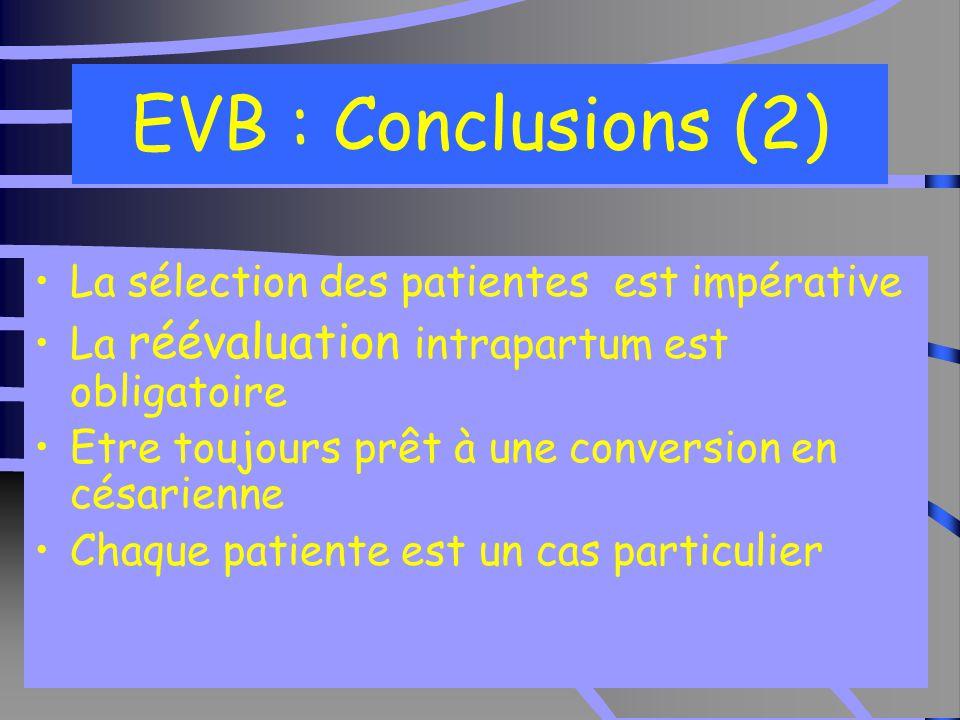 34 EVB : Conclusions (2) La sélection des patientes est impérative La réévaluation intrapartum est obligatoire Etre toujours prêt à une conversion en césarienne Chaque patiente est un cas particulier