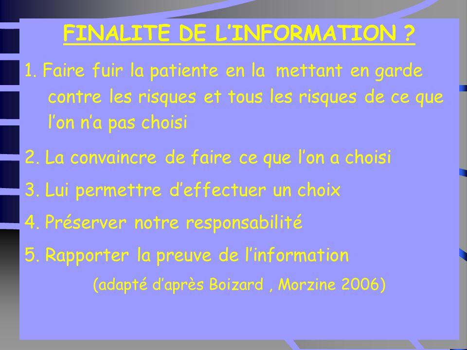 35 Etude contrôlée sur l'information (Fraser 1997) FINALITE DE L'INFORMATION .