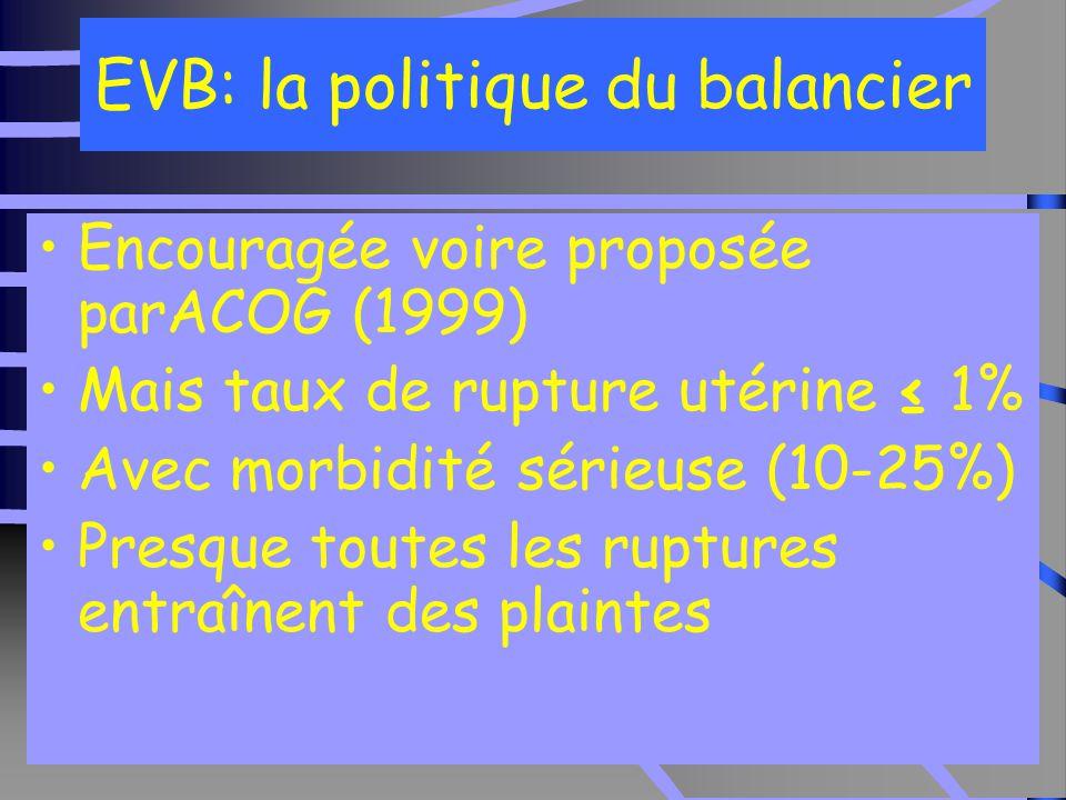 9 EVB: la politique du balancier Encouragée voire proposée parACOG (1999) Mais taux de rupture utérine ≤ 1% Avec morbidité sérieuse (10-25%) Presque toutes les ruptures entraînent des plaintes