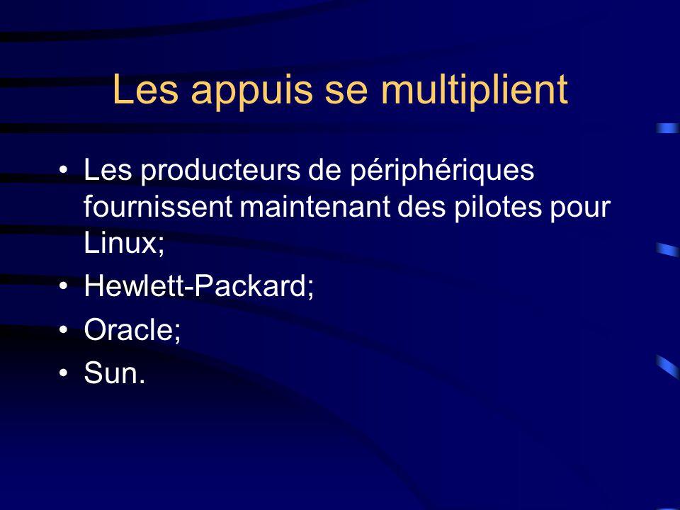 Les appuis se multiplient Les producteurs de périphériques fournissent maintenant des pilotes pour Linux; Hewlett-Packard; Oracle; Sun.