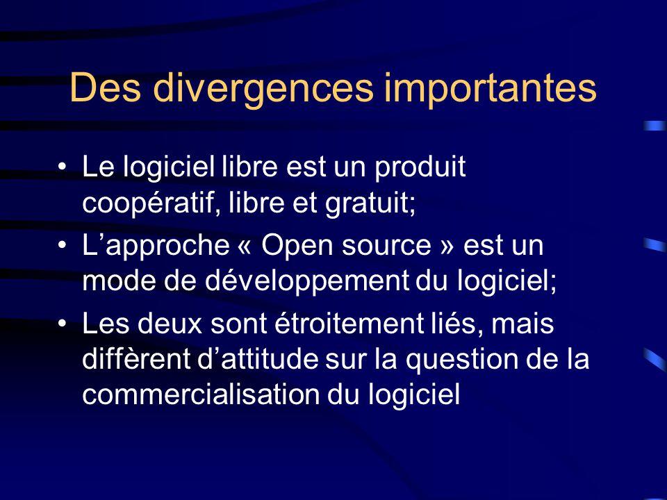 Des divergences importantes Le logiciel libre est un produit coopératif, libre et gratuit; L'approche « Open source » est un mode de développement du logiciel; Les deux sont étroitement liés, mais diffèrent d'attitude sur la question de la commercialisation du logiciel