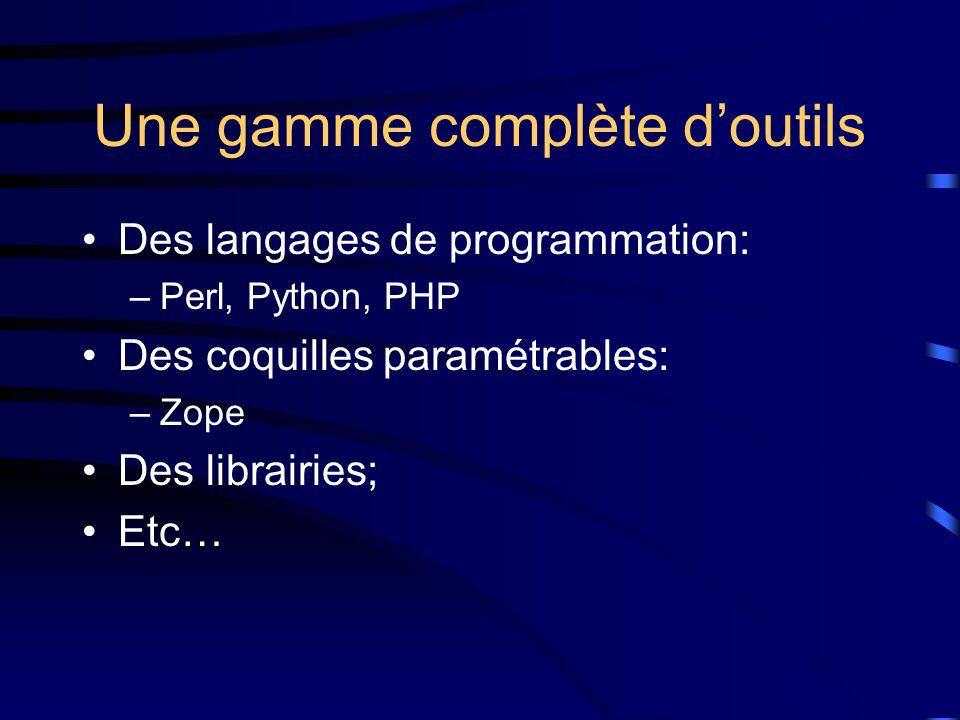 Une gamme complète d'outils Des langages de programmation: –Perl, Python, PHP Des coquilles paramétrables: –Zope Des librairies; Etc…