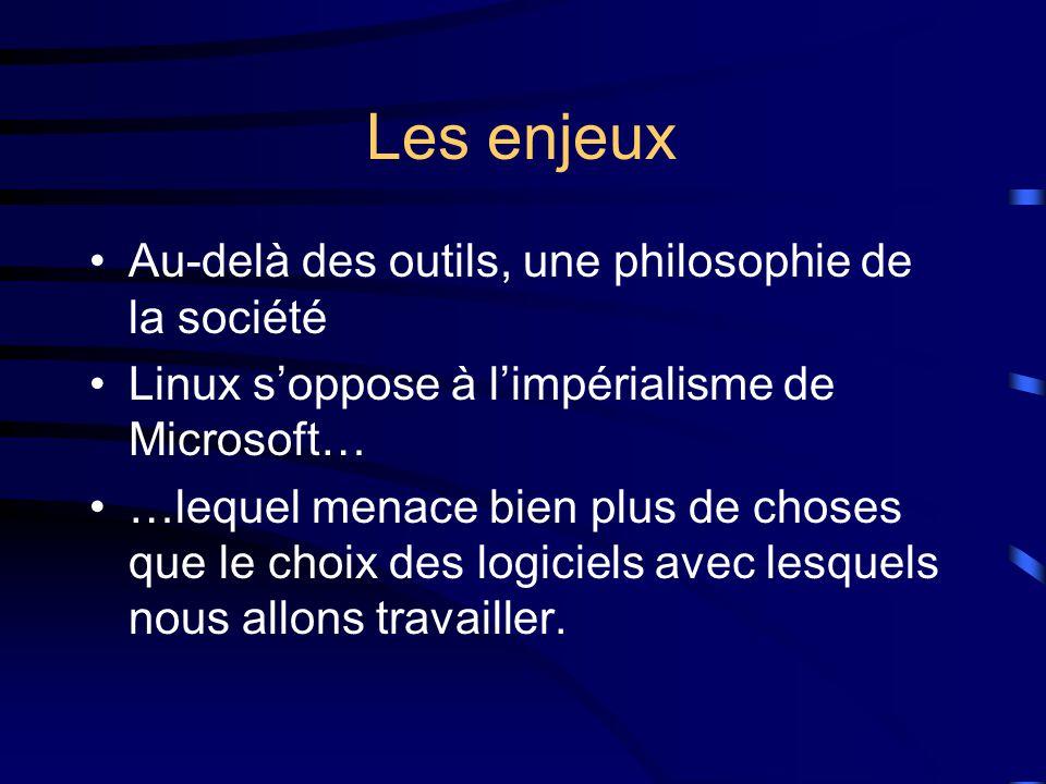 Les enjeux Au-delà des outils, une philosophie de la société Linux s'oppose à l'impérialisme de Microsoft… …lequel menace bien plus de choses que le choix des logiciels avec lesquels nous allons travailler.