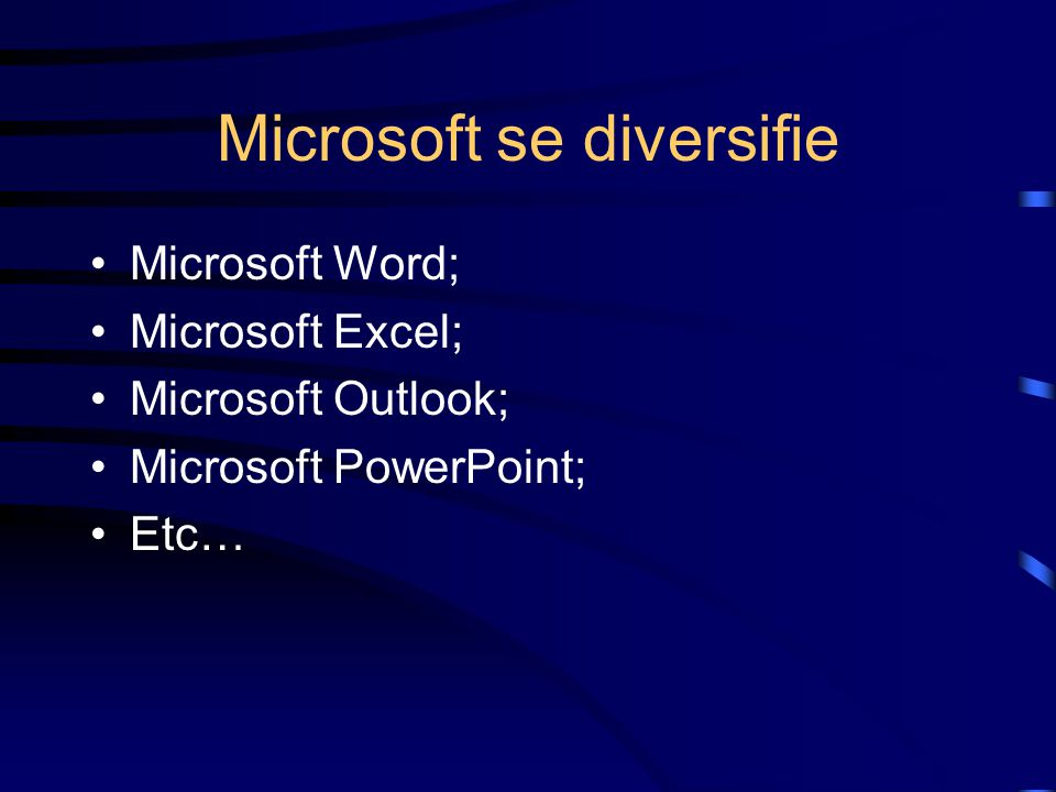 Microsoft se diversifie Microsoft Word; Microsoft Excel; Microsoft Outlook; Microsoft PowerPoint; Etc…