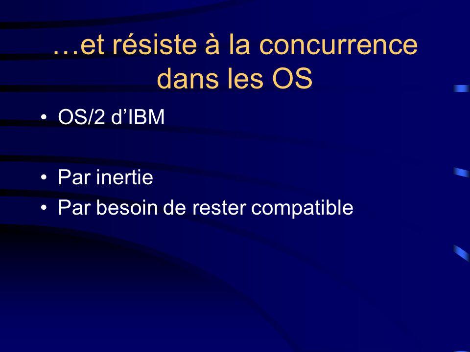 …et résiste à la concurrence dans les OS OS/2 d'IBM Par inertie Par besoin de rester compatible