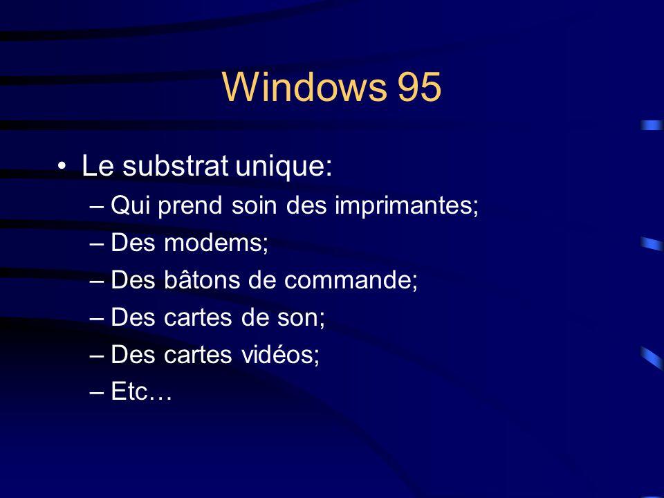 Windows 95 Le substrat unique: –Qui prend soin des imprimantes; –Des modems; –Des bâtons de commande; –Des cartes de son; –Des cartes vidéos; –Etc…
