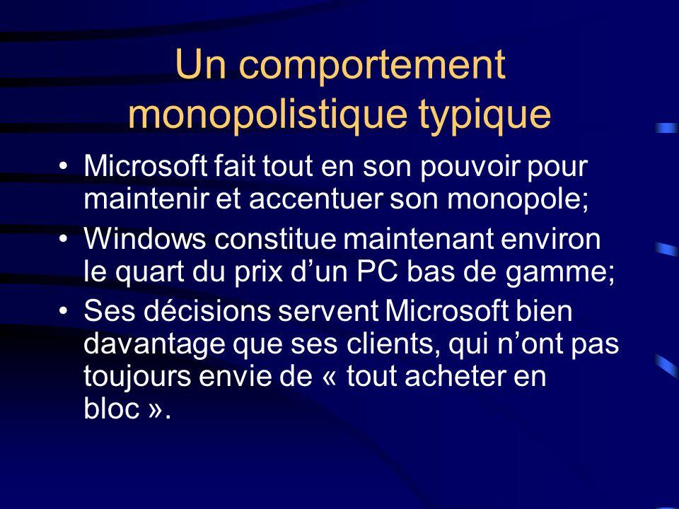 Un comportement monopolistique typique Microsoft fait tout en son pouvoir pour maintenir et accentuer son monopole; Windows constitue maintenant environ le quart du prix d'un PC bas de gamme; Ses décisions servent Microsoft bien davantage que ses clients, qui n'ont pas toujours envie de « tout acheter en bloc ».