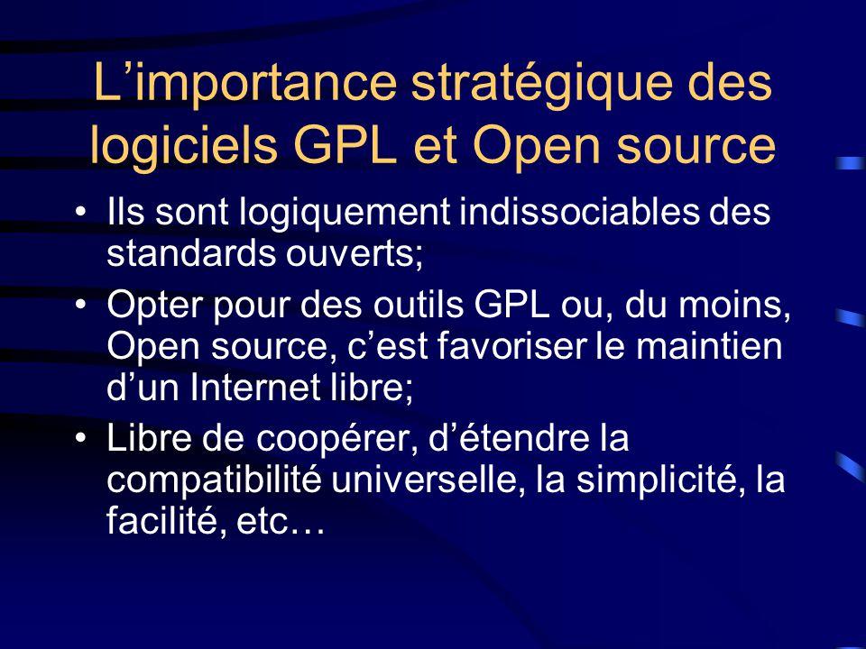 L'importance stratégique des logiciels GPL et Open source Ils sont logiquement indissociables des standards ouverts; Opter pour des outils GPL ou, du moins, Open source, c'est favoriser le maintien d'un Internet libre; Libre de coopérer, d'étendre la compatibilité universelle, la simplicité, la facilité, etc…