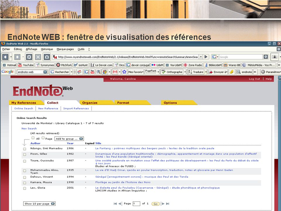 EndNote WEB : fenêtre de visualisation des références