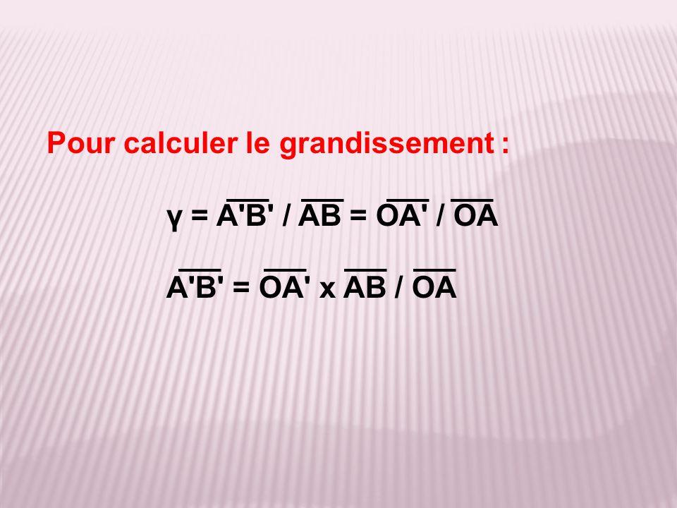Pour calculer le grandissement : γ = A'B' / AB = OA' / OA A'B' = OA' x AB / OA