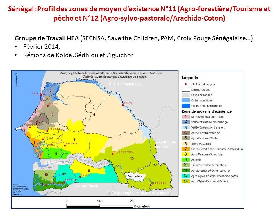 Sénégal: Profil des zones de moyen d'existence N°11 (Agro-forestière/Tourisme et pêche et N°12 (Agro-sylvo-pastorale/Arachide-Coton) Groupe de Travail
